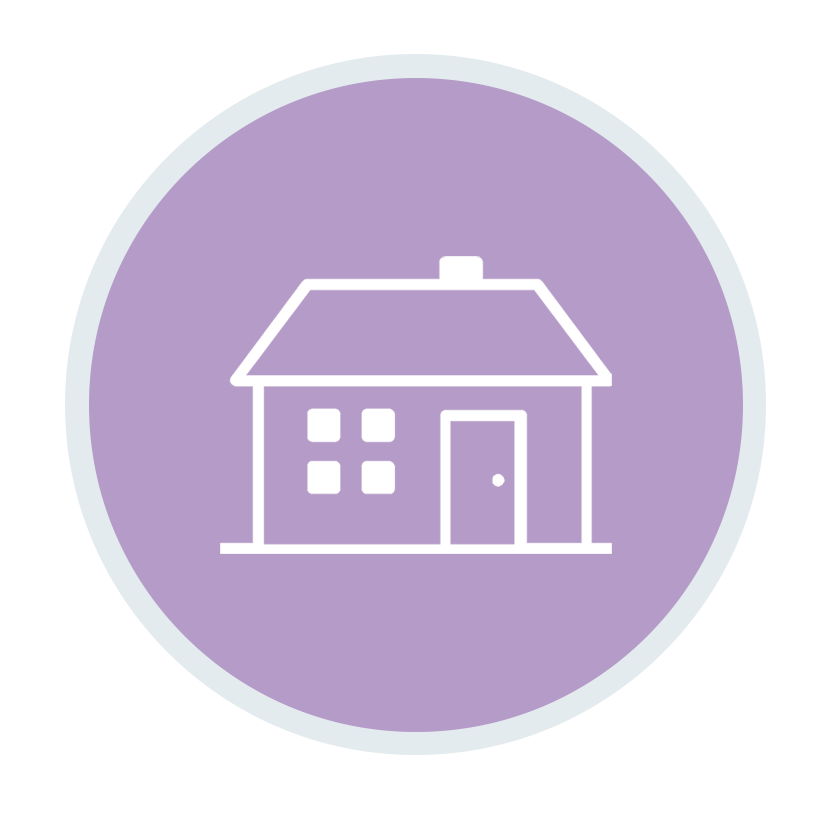 House icon inside violet colour circle
