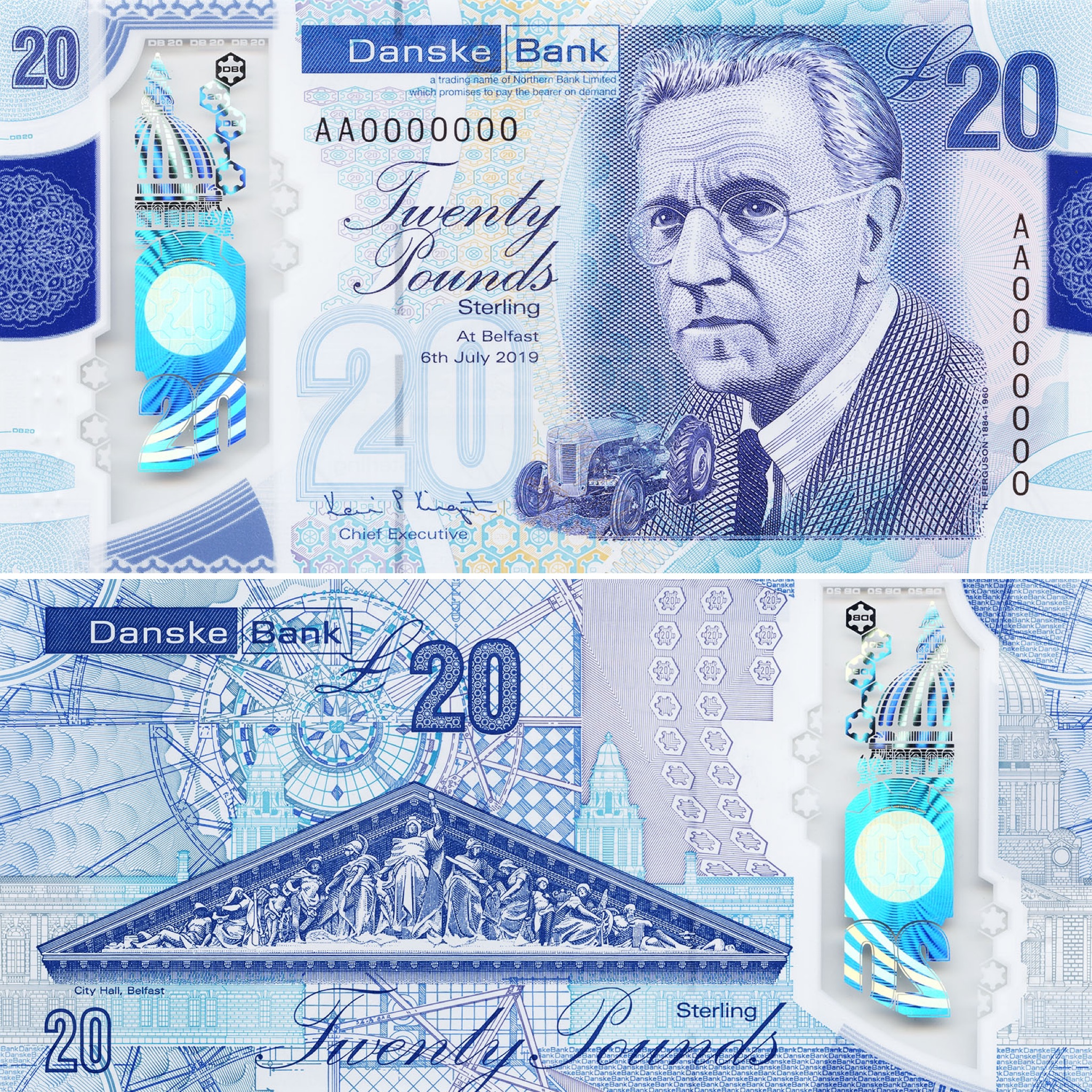 Image showing the front and back of the new Danske Bank £20 polymer note. The note has purple and blue hues, with a portrait of Harry Ferguson on the front with a small tractor and some close ups of Belfast City Hall on the back.