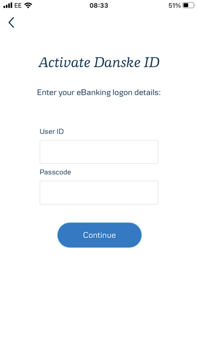Step 2: Enter eBanking user ID and passcode then press continue