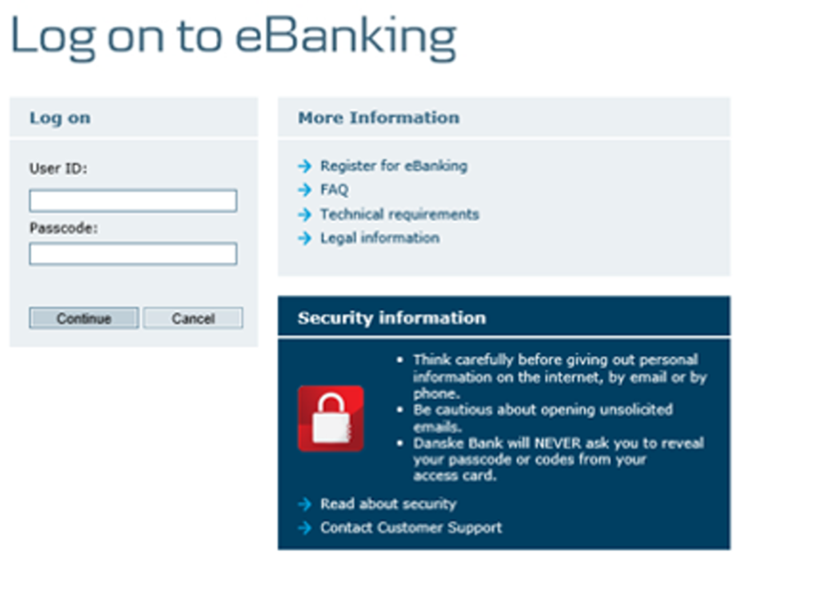 Step 1: Enter eBanking user ID and Passcode