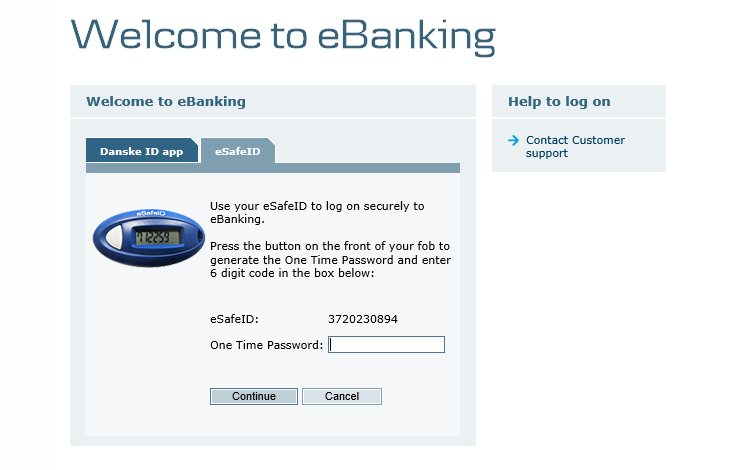 Step 2: Press send on the Danske ID tab